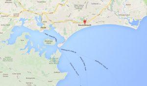 mapa Bournemouth e Poole